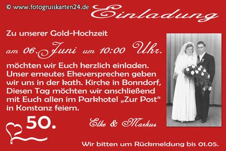 rote Einladungskarte zur Goldhochzeit