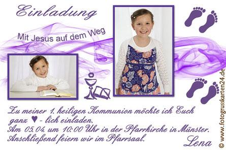 Erstkommunion Einladungskarten Foto Wunschtext