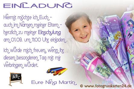 Einladungskarte Einschulung lila