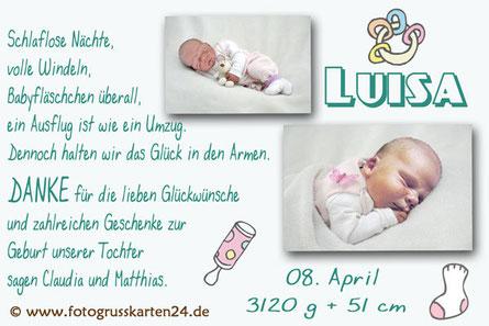 Dankeskarte Babykarte Danksagung zur Geburt
