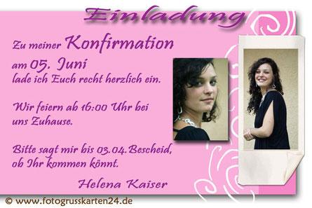Konfirmation Einladung mit Foto