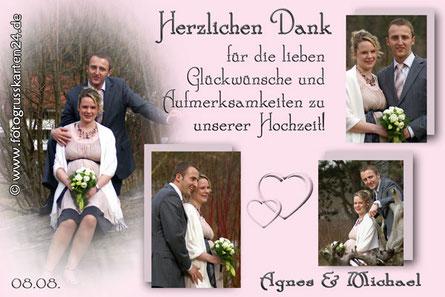 Danksagungskarten zur Hochzeit in rosa mit 4 Fotos