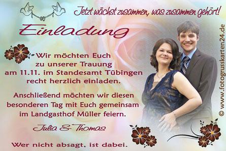 Einladungskarten Trauung Hochzeit