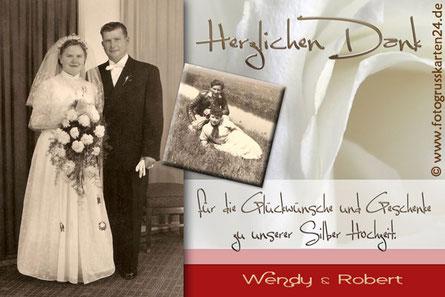 Silberhochzeit Dankeskarten Danksagungen zur silbernen Hochzeit