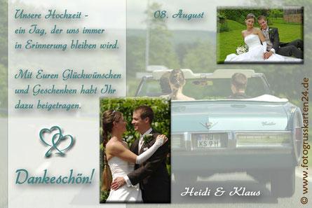 Danksagungskarten zur Hochzeit Dankeskarten