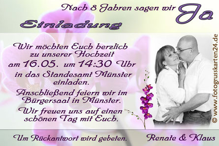 Einladungskarte Hochzeit Einladung zur Trauung