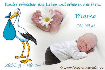 Geburtsanzeige Junge blau mit Storch Babykarten mit Foto