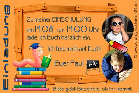 Einladungskarte Schuleinführung Lesewurm