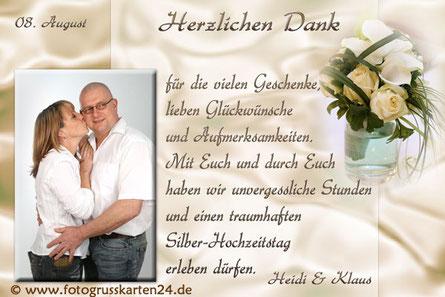 silberne Hochzeit Danksagungskarten Silberhochzeit Dankeskarten