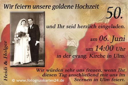 Einladungskarte zur goldenen Hochzeit Einladung Goldhochzeit