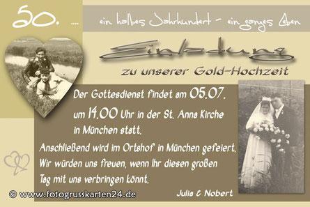 Einladungskarten zur Gold-Hochzeit Einladung goldene Hochzeit mit Foto