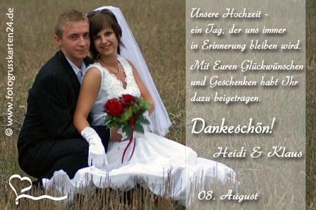 Dankeschönkarte zur Hochzeit