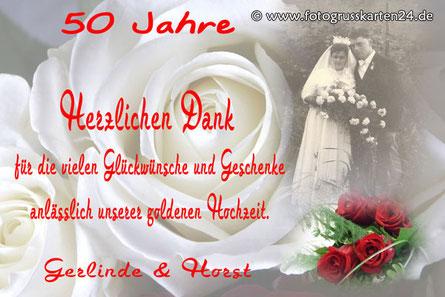 Danksagungen zur goldenen Hochzeit Dankeskarten Goldhochzeit