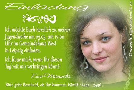 Einladungen Jugendweihe mit Foto