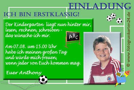 Einladungskarten mit Foto zur Einschulung Fussball