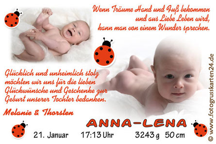Dankeskarten zur Geburt Mädchen