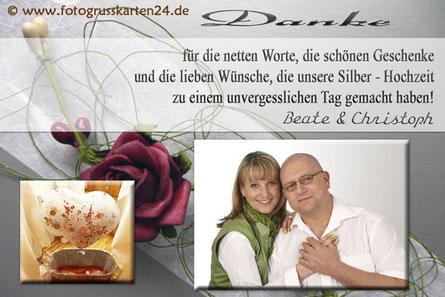Silber-Hochzeit Dankeskarten silberne Hochzeit Danksagungskarte