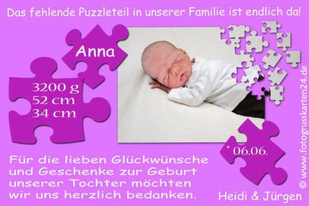 Danksagung Babykarte zur Geburt mit Foto