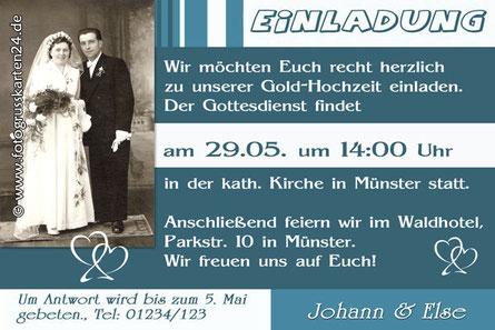 Einladungskarten zur goldenen Hochzeit mit Foto