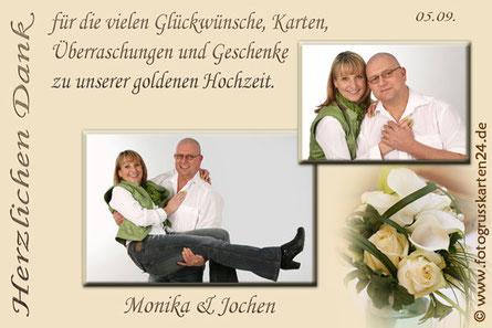 Danksagungskarten goldene Hochzeit Dankeskarte Goldhochzeit