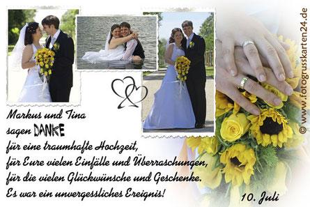 Danksagungskarten Hochzeit Dankeskarte Trauung mit Foto