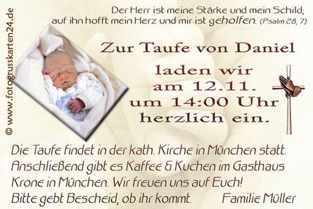 Einladungskarten Taufe braun