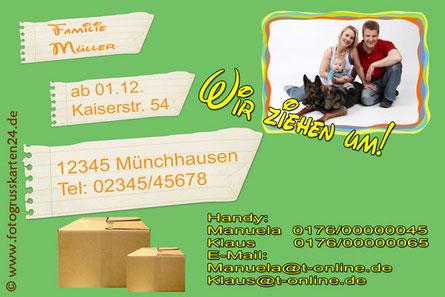 Adressänderungskarte, Umzugs- NEUE Adresse Karte
