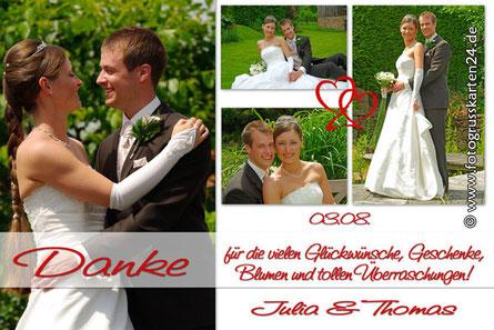 tolle Dankeskarte zur Hochzeit