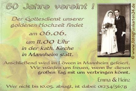 Einladung mit foto zur Goldhochzeit Einladungskarten goldene Hochzeit