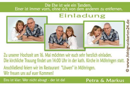 Einladungskarte zur Hochzeit grün Einladungen zur Trauung