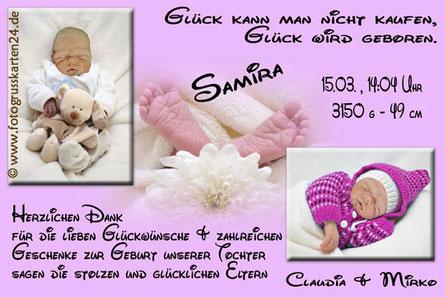 lila Geburtskarte Mädchen Dankeskarten
