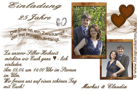 Einladungskarten zur Silberhochzeit mit Foto Einladungen 25 Jahre verheiratet