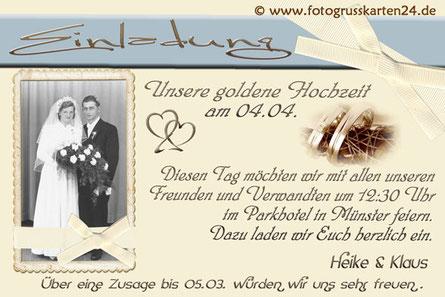 Einladungskarten Goldhochzeit Einladungen zur goldenen Hochzeit