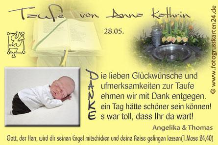 Dankeskarten zur Taufe Danksagungskarten Taufe