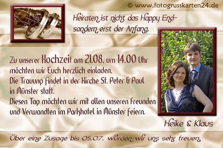 Einladungskarte Hochzeit Trauung Einladungen