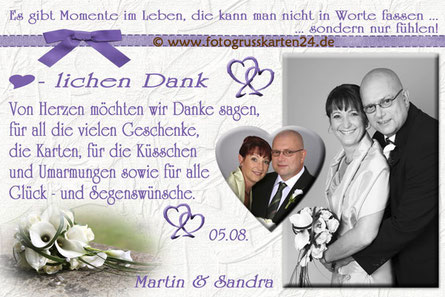 Dankeskarte zur Hochzeit in lila mit Foto
