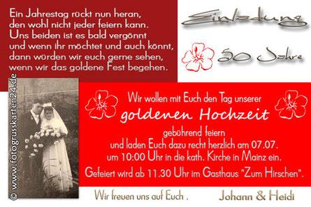 Einladungskarte rot zur goldenen Hochzeit Einladung Goldhochzeit