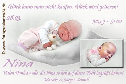 Dankeskarten zur Geburt mit Foto rosa