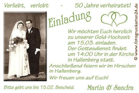 Einladung zur goldenen Hochzeit 50 Jahre verheiratet