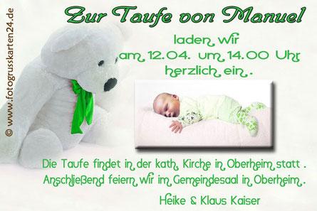 grüne Einladungskarte zur Taufe Taufeinladung