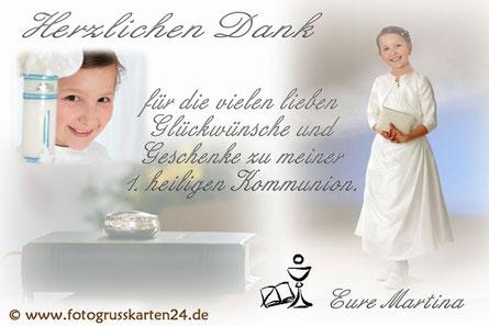 Erstkommunion Danksagungskarten mit Foto Dankeskarten Kommunion