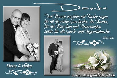 Dankeskarte für die Glückwünsche zur Hochzeit
