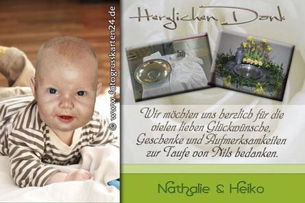 Taufe Danksagungskarten mit Foto