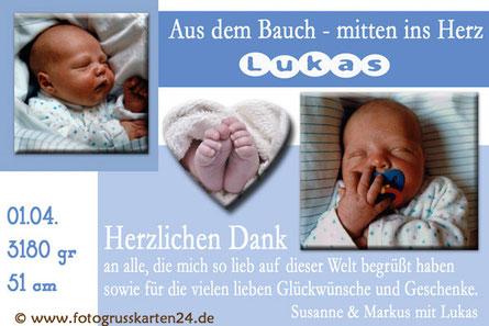 Dankeskarte blau Junge mit Foto zur Geburt