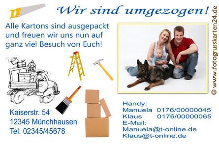 Neue Adresse Fotokarte mit neuer Adresse