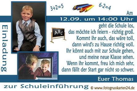 Schuleinführung Einladungskarten mit Foto
