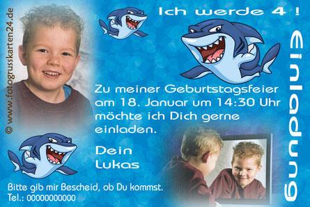 Einladungskarte Geburtstag Hai