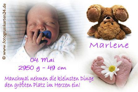 Geburtsanzeige lila für Mädchen mit Teddybär, Babykarten