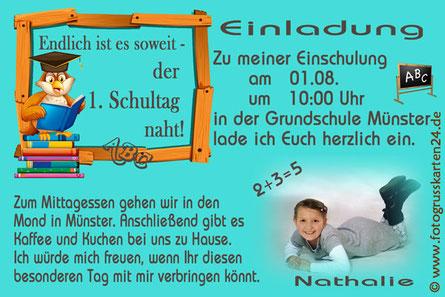 Einladungskarte Schuleinführung Leseeule