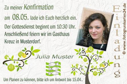 Einladungskarten Fotokarte zur Konfirmation